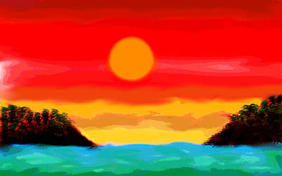 Orange Sun Painting - Arriving At The Mysterious Islands  by Paul Sutcliffe