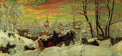 Snow Scene Painting - Arriving For The Holidays by Boris Mihajlovic Kustodiev