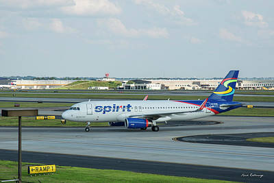 Photograph - Arriving Spirit Airlines Airbus A-320 N636nk Airplane Art by Reid Callaway