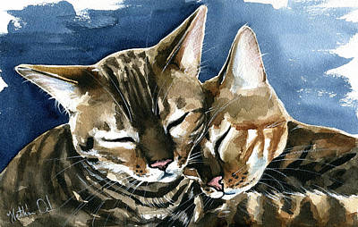 Painting - Arrow And Nala Bengal Cat Painting by Dora Hathazi Mendes