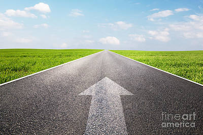 Way Photograph - Arrow Sign Pointing Forward On Long Empty Straight Road by Michal Bednarek