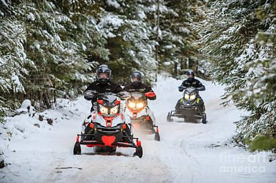 Photograph - Arrowhead Snowmobilers by Lori Dobbs
