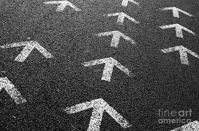 Traffic Photograph - Arrows On Asphalt by Carlos Caetano