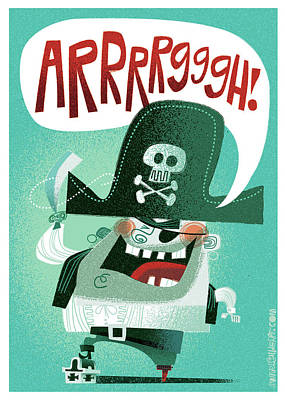 Cartoons Digital Art - Arrrrggh by Daniel Guidera