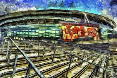 Mixed Media - Arsenal Fc Emirates Stadium Van Gogh by David Pyatt