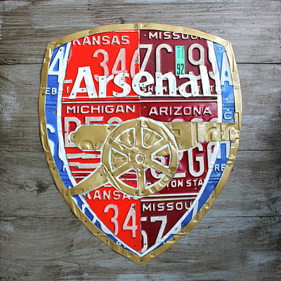 Football Mixed Media - Arsenal Football Team Emblem Recycled Vintage Colorful License Plate Art by Design Turnpike