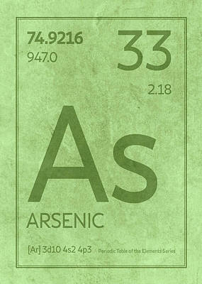 Periodic Table Wall Art - Mixed Media - Arsenic Element Symbol Periodic Table Series 033 by Design Turnpike