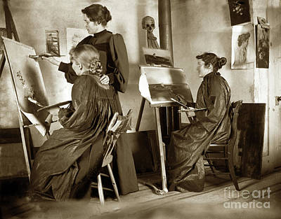 Photograph - Art Class Oil Painting Teacher  And Art Students 1900 by California Views Mr Pat Hathaway Archives