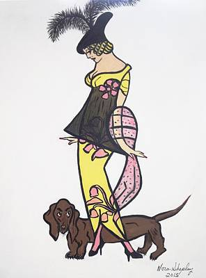 Art Deco  1920's Girls And Dogs Art Print by Nora Shepley