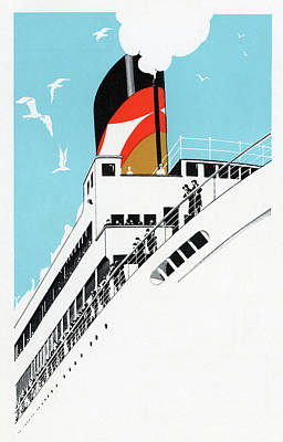 Liner Drawing - Art Deco 1920s Illustration Of A Cruise Ship With Passengers, 1928  by American School