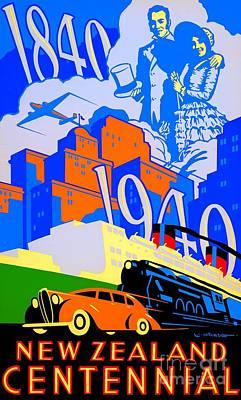 Painting - Art Deco 1940 New Zealand Centennial Poster by Peter Gumaer Ogden Collection