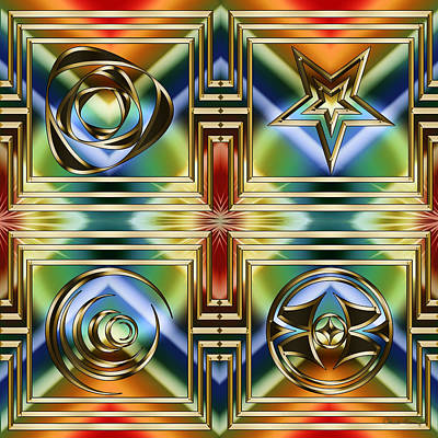 Digital Art - Art Deco 4 Panel by Chuck Staley
