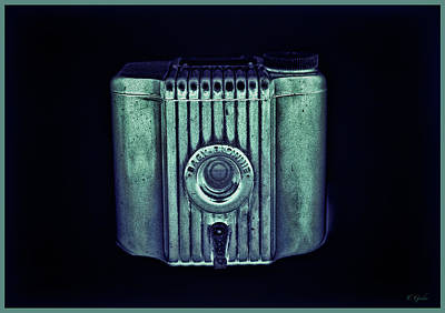 Photograph - Art Deco Baby Brownie Green And Blue With Border by Tony Grider