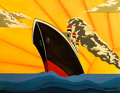 Art Deco Boat Original by Emma Childs