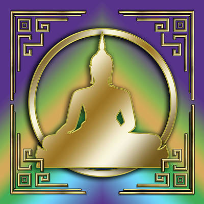 Digital Art - Art Deco Buddha - Square by Chuck Staley