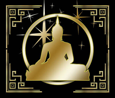 Digital Art - Art Deco Buddha - Stars - Black by Chuck Staley