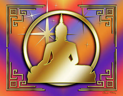 Digital Art - Art Deco Buddha - Stars by Chuck Staley