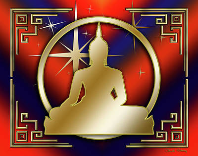 Digital Art - Art Deco Buddha - Stars - Dark Red by Chuck Staley