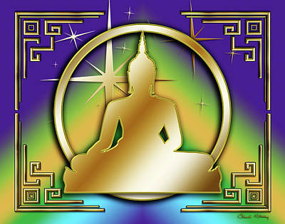 Digital Art - Art Deco Buddha - Stars - Purple by Chuck Staley