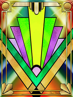 Digital Art - Art Deco Chevron 3 V by Chuck Staley