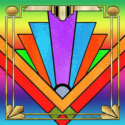 Digital Art - Art Deco Chevron 5 by Chuck Staley