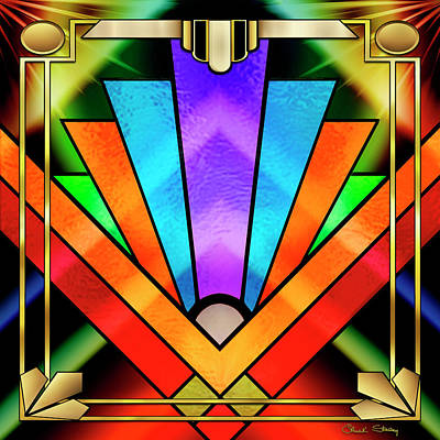 Digital Art - Art Deco Chevron 5 Dark by Chuck Staley