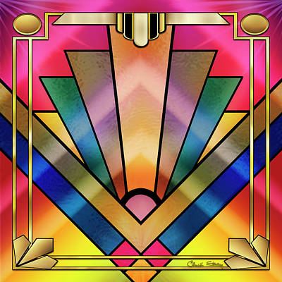 Digital Art - Art Deco Chevron 6 by Chuck Staley