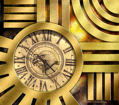 Digital Art - Art Deco Clock by Chuck Staley