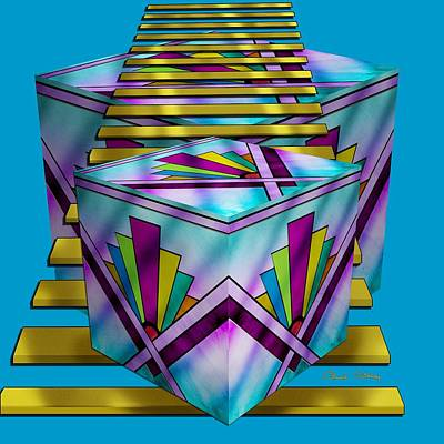 Digital Art - Art Deco Cubes 1 - Transparent by Chuck Staley