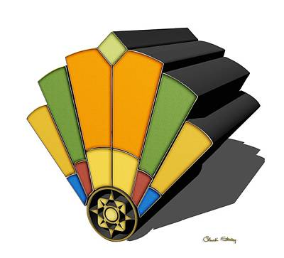 Digital Art - Art Deco Fan 8 3 D by Chuck Staley