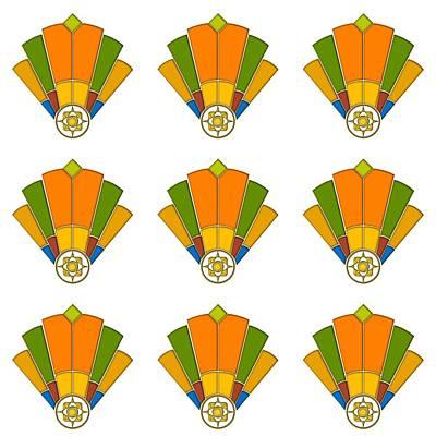 Digital Art - Art Deco Fan 8 Multiview by Chuck Staley