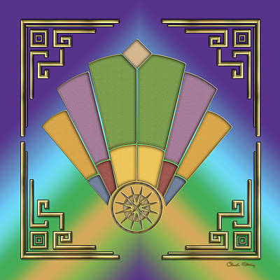 Digital Art - Art Deco Fan 9 by Chuck Staley