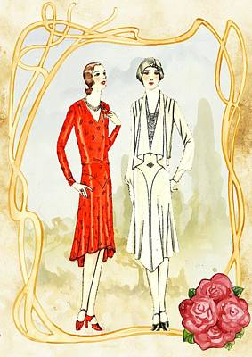 Painting - Art Deco Fashion Girls by Joy of Life Art Deco Gallery