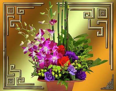 Art Print featuring the digital art Art Deco Floral Arrangement by Chuck Staley