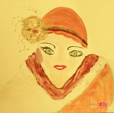 Painting - Art Deco Girl In The Red Hat by Marie Bulger