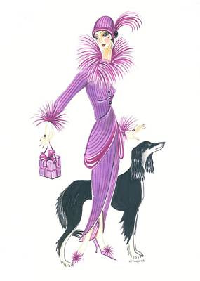 Saluki Painting - Art Deco Lady - Esta And Ebony by Di Kaye