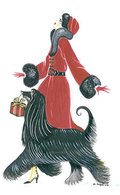 Afghan Hound Painting - Art Deco Lady - Ruby by Di Kaye