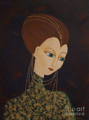 Erte Painting - Art Deco Lady by Denise Fleming