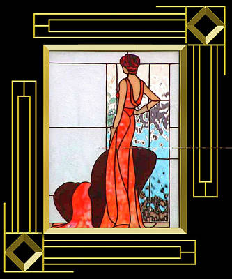 Digital Art - Art Deco - Lady In Red by Chuck Staley