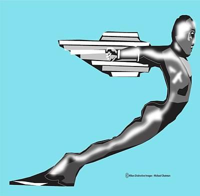 Digital Art - Art Deco Lasalle Rocket Man  Car Hood Ornament by Michael Chatman