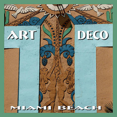 Drawing - Art Deco Miami Beach - Poster by Art America Gallery Peter Potter