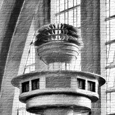 Photograph - Art Deco On Bricks Bw by Mel Steinhauer