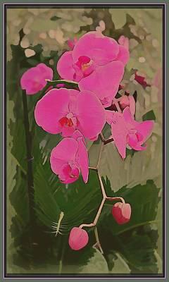 Shirt Digital Art - Art Deco Orchids by Mindy Newman