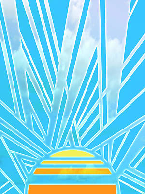 Art Deco Radiating Sun - Geometric Abstraction Digital Art Art Print by Rayanda Arts