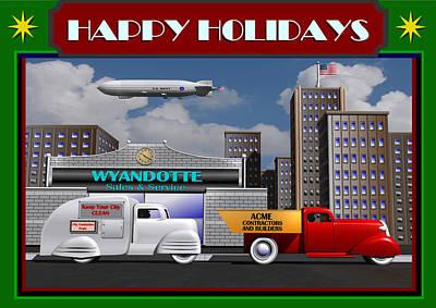 Art Print featuring the digital art Art Deco Street Scene Christmas Card by Stuart Swartz