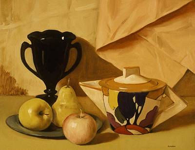Painting - Art  Deco Teapot, Black Milk Glass Vase And Fruit by Robert Holden
