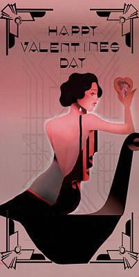 Digital Art - Art Deco Valentine Greeting by Jeff Burgess