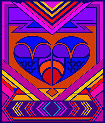 Digital Art - Art Deco Valentine by Vagabond Folk Art - Virginia Vivier