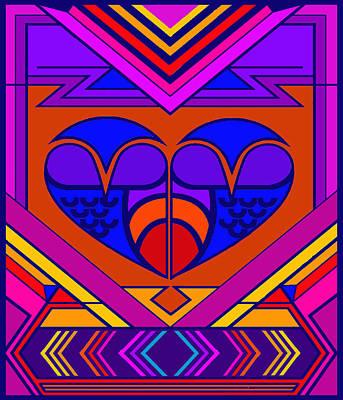 Digital Art - Art Deco Valentine by Vagabond Folk Art - Virginia Vivier