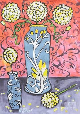 Art Deco Vase With Three Flowers Art Print by Caroline Street